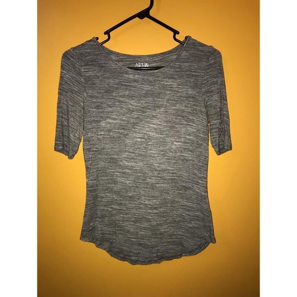 Apt. 9 Tops - Cotton grey and white half sleeve shirt